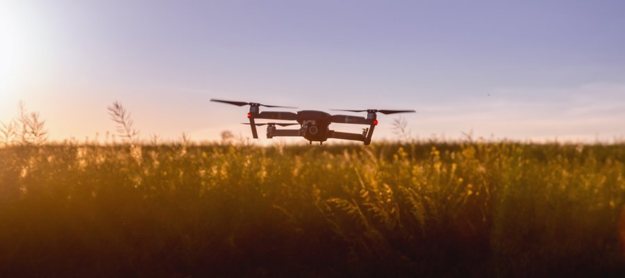 Drone in a sunset