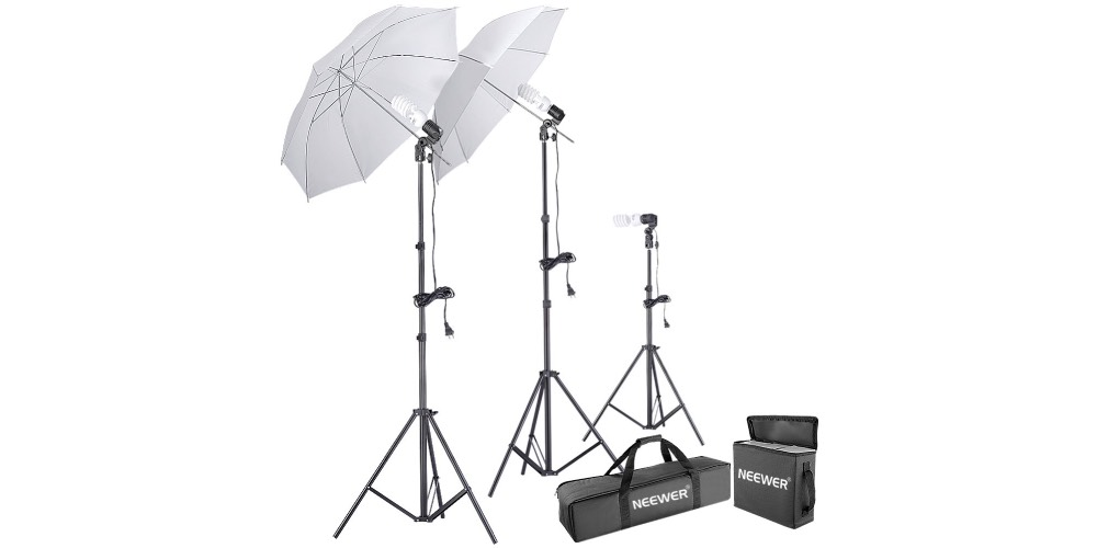 Neewer 500W 5500K Photo Studio Day Light Umbrella Continuous Lighting Kit Image