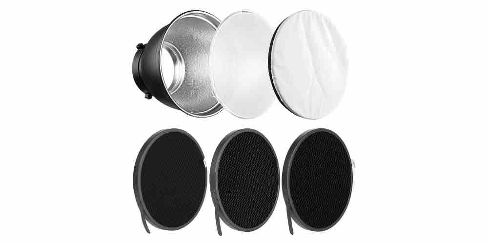 "Soonpho 7"" Standard Reflector Diffuser Lamp Shade Dish with Honeycomb Grid Image"