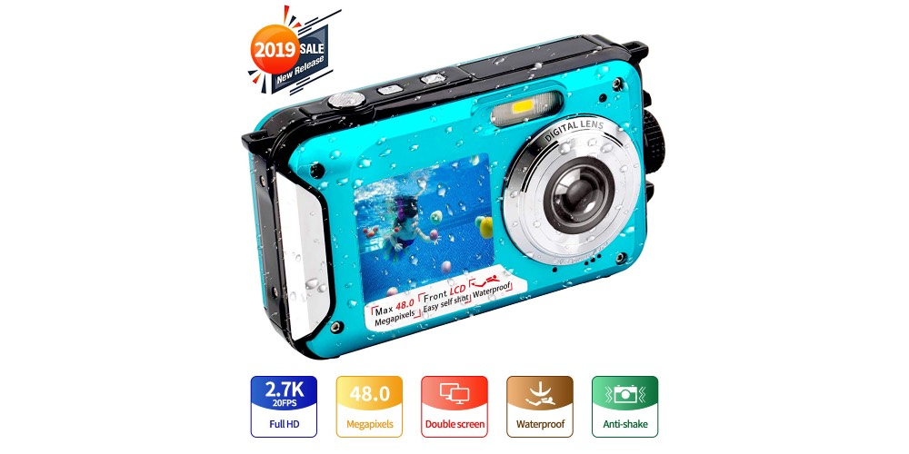 Yisence Waterproof Camera Underwater Camera Full HD 2.7K 48MP Image