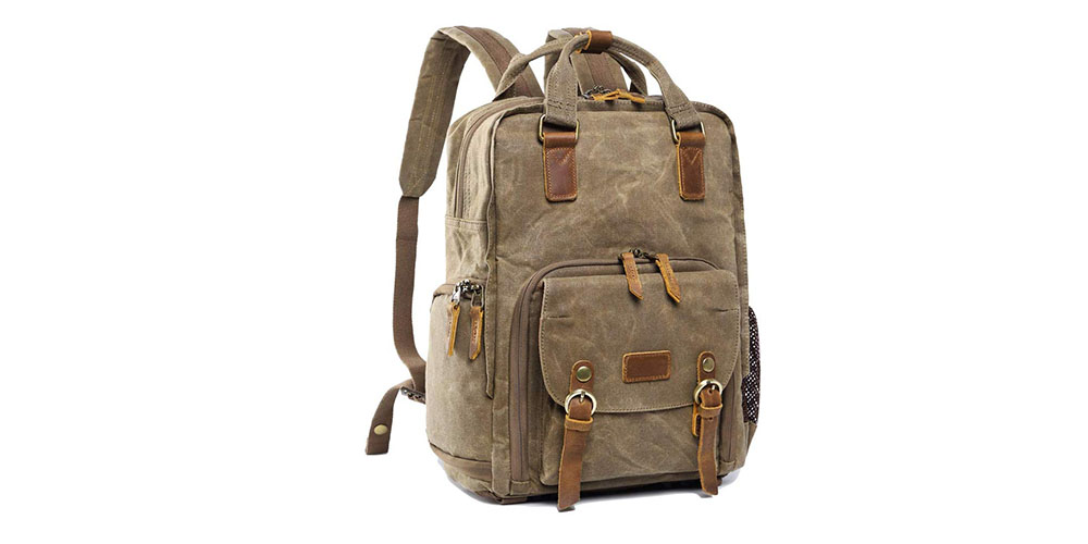 S-ZONE Waterproof Waxed Canvas Camera Backpack Image 1