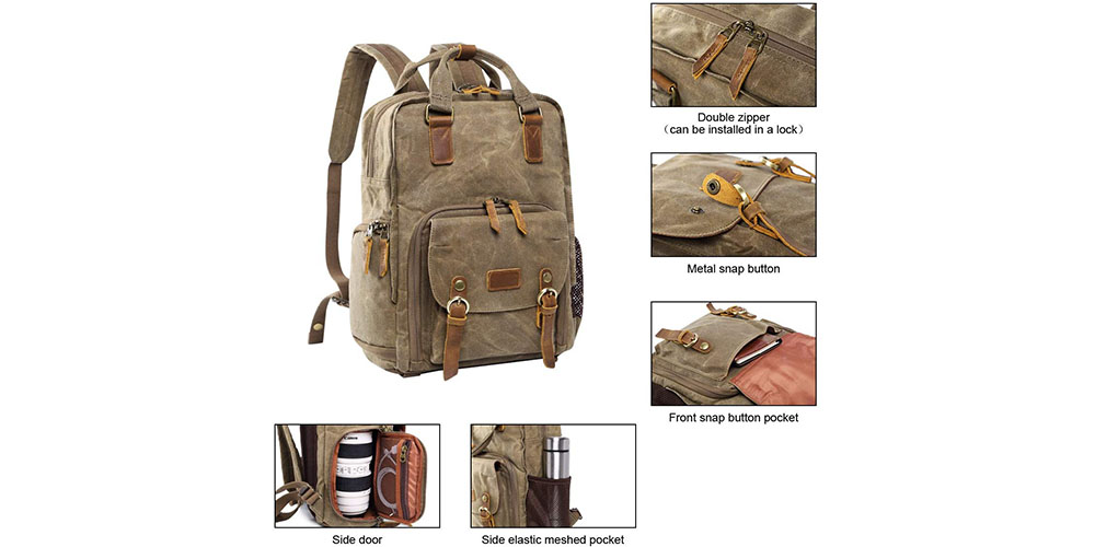S-ZONE Waterproof Waxed Canvas Camera Backpack Image 2