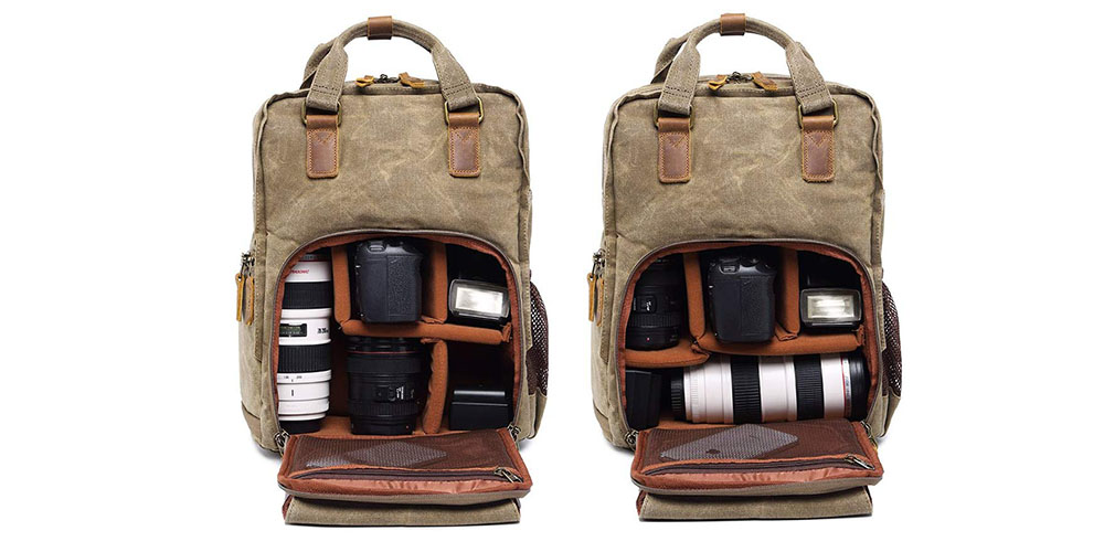 S-ZONE Waterproof Waxed Canvas Camera Backpack Image 3