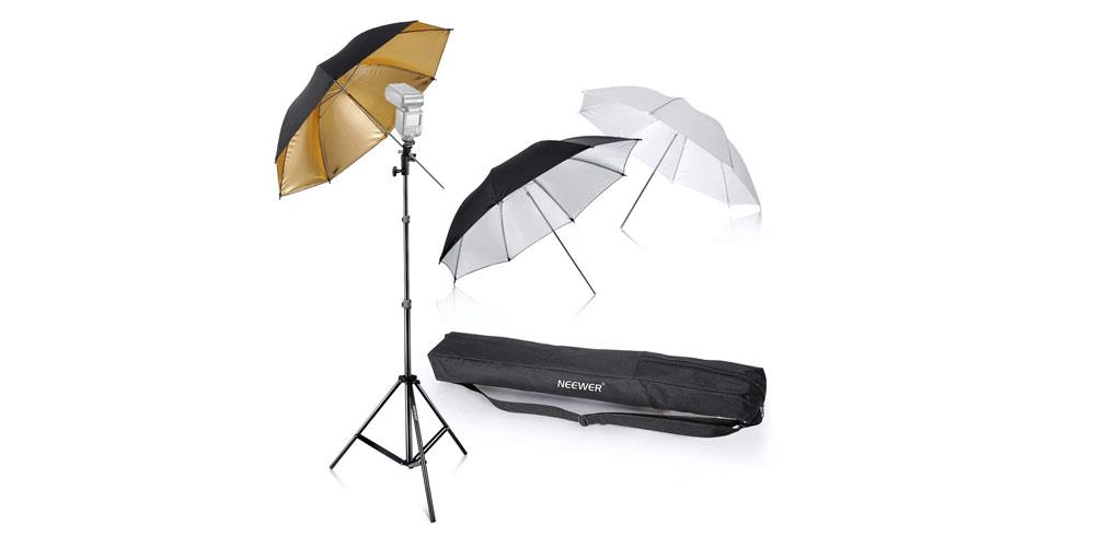 Neewer Flash Mount Three Umbrellas Kit Image