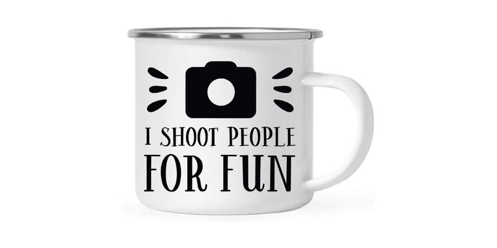 "Andaz Press ""I Shoot People"" 11oz Stainless Steel Coffee Mug Image"