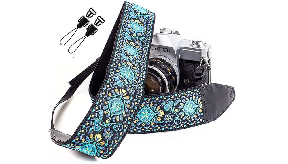 Art Tribute Blue Woven Vintage Camera Strap Image