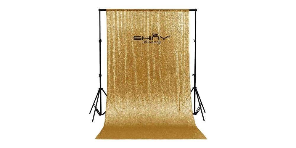 ShinyBeauty Gold Sequin Backdrop Image